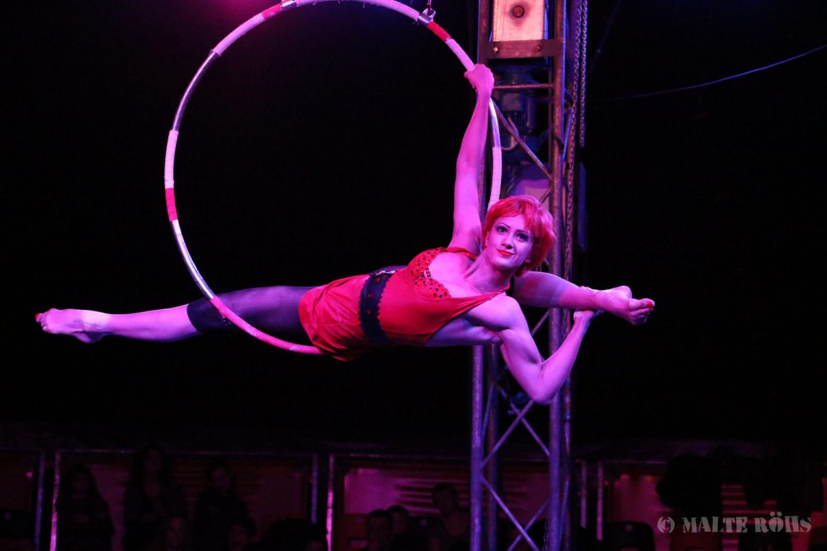 Woman during an amazing acrobatic aerial ring performance in a show of circus EigenArt