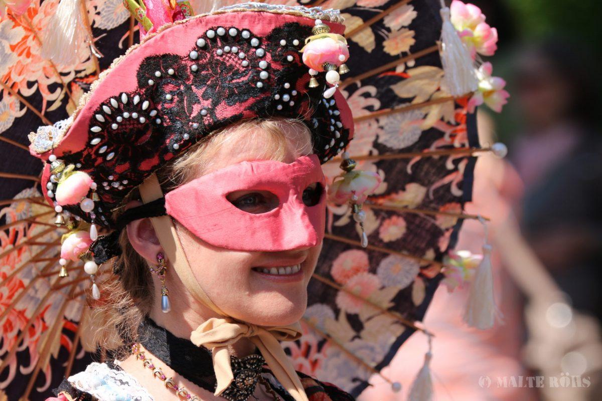 Woman with a beautiful fancy dress during the Carnival der Kulturen 2015 in Bielefeld