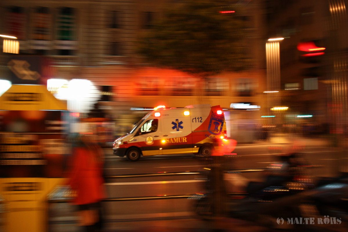 Panning photo of an ambulance in Madrid, Spain