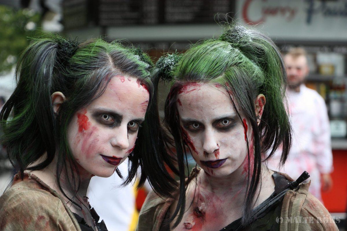 Zombie twins during the Zombie Walk 2016 Bielefeld, Germany